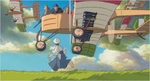 Le  jeune  Jiro  (en bas )  à la poursuite de ses rêves  ( sur  l'avion  son  mentor ,  Gianni Caproni )