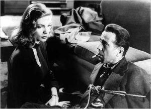 Lauren Bacall  et Humphrey Bogart  dans uen scène de  Le  Grand  Sommeil