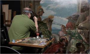 travail de  restauration d'un tableau