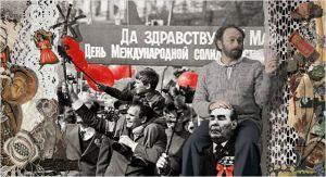 """Une belle  scène  . le  """"collage""""  du  cinéaste  sur  une  affiche de  propagande .  Paradjanov était  aussi  Charlie"""