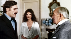 Gérard Depardieu , Jane Birkin et Charles Vanel dans Sept morts sur ordonnance
