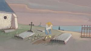 Louise  jardine dans le  cimetière...