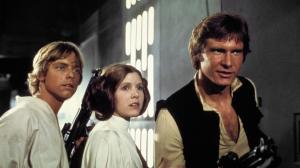 Luke Skywalker Mark Hamill)  , Princesse Léïa  ( Carrie Fisher) et  Han Solo  -( Harrison Ford)