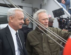 Photo de tournage : Tom Hanks et Clint Eastwood