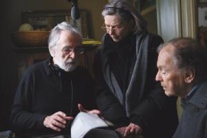 Michaêl Haneke , Emmanuelle Riva et Jean- Louis Trintignat . Photo de tournage du film