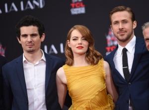 De gauche à Droite : Damien Chazelle, Emma Stone et Ryan Gosling -